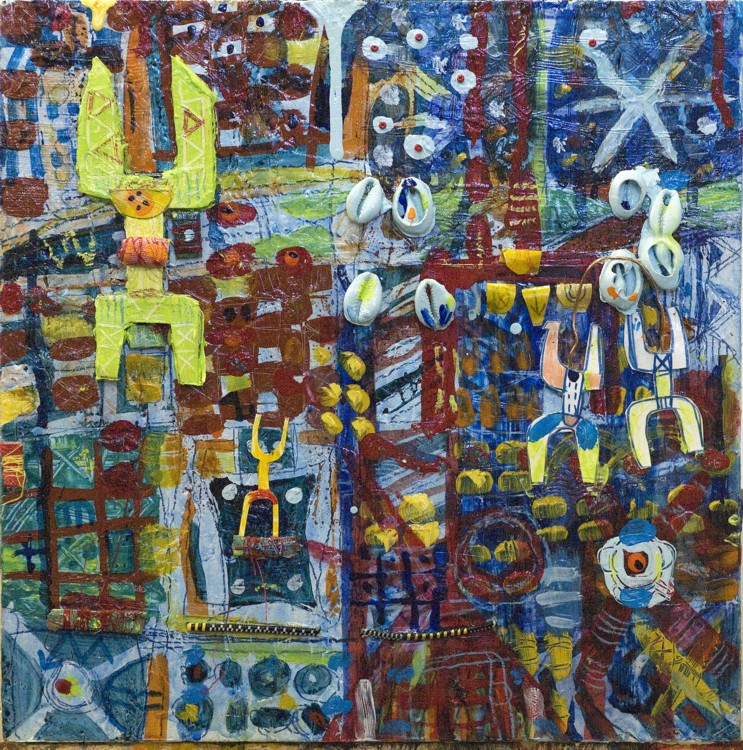 """Untitled with Blue Cowries #1, 2007, mixed media on board, 12"""" x 12"""""""