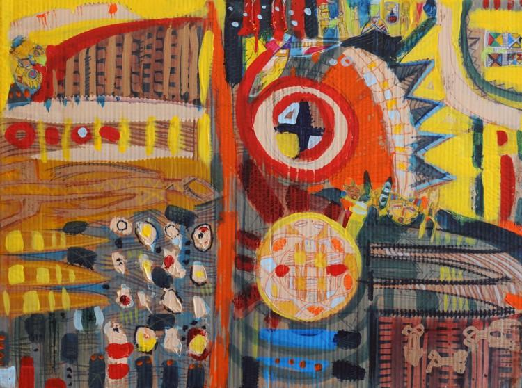 "Untitled #11206, 2006, mixed media on laminated cardboard, 30"" x 40"""