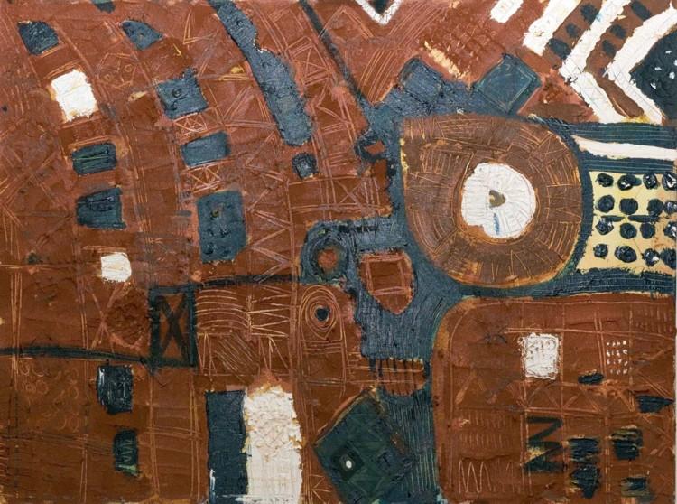 """Pupu, duda ati funfun #2, c.1992/c.2002, acrylic on canvas, 30"""" x 40"""""""