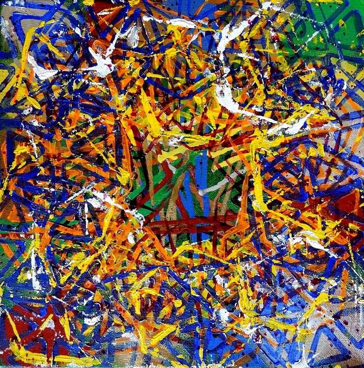 Sugar Crash, 2016, acrylic paint, spray paint on canvas, 12 x 12 in. Photography by J. Gordon Rodwan.