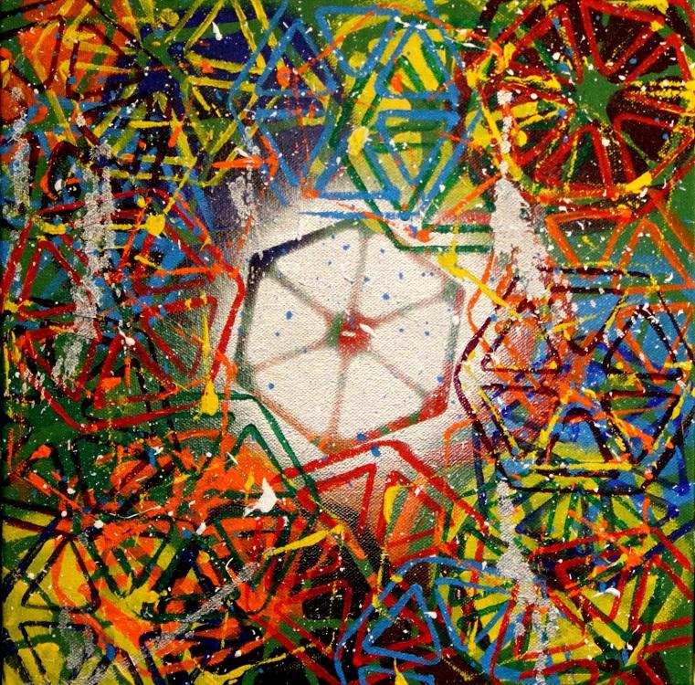 Sugar Rush, 2016, acrylic paint, spray paint on canvas, 12 x 12 in. Photography by J. Gordon Rodwan.